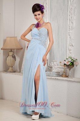 Light Blue One Shoulder Evening Dress Beading Slit