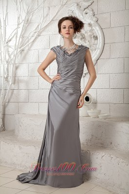 Popular Column Gray V-neck Prom Dress Ruch Brush