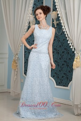 Light Blue Prom Dress for Junior Square Lace