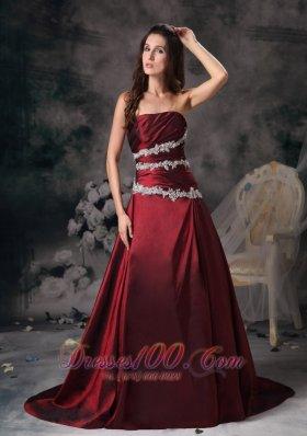 Sweet Burgundy Prom Evening Dress Appliques