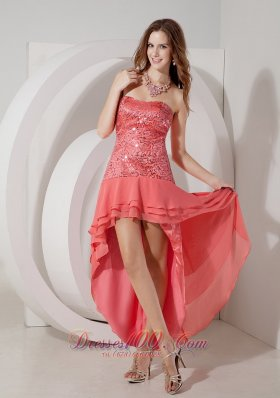 Watermelon High-low Chiffon Prom Dress Sequin