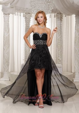Little Black Dress For Prom Beaded High-low