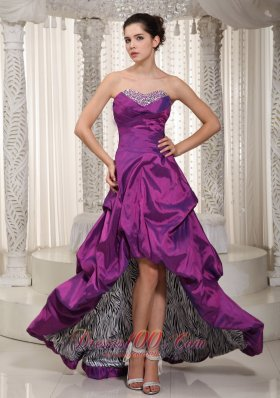 Eggplant purple Prom Dress High-low Zebra Pick-ups