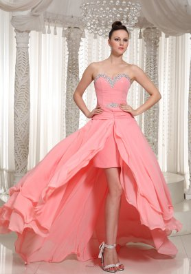 High-low Prom Dress in Watermelon Chiffon Beaded