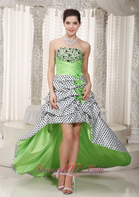 Spring Green A-line Hi-lo Beading Prom Homecoming Dress