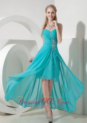 Sweet Aqua High-lo Sweetheart Prom Dress Crystal