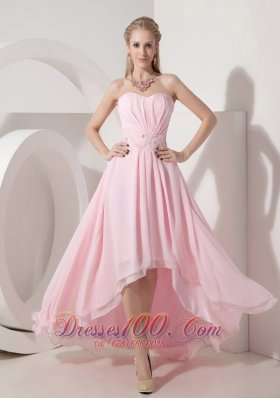 Baby Pink 2013 Cocktail Holiday Dress Chiffon Beading High-low