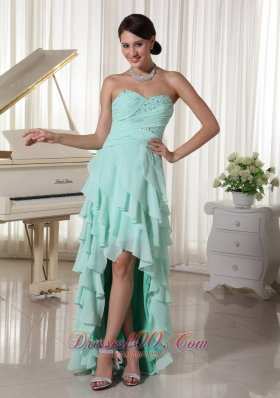 Layered High Low Prom Dress Apple Green Beading