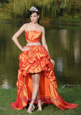High-Lo Orange Red Dama Dresses for Sweet 16 Appliques