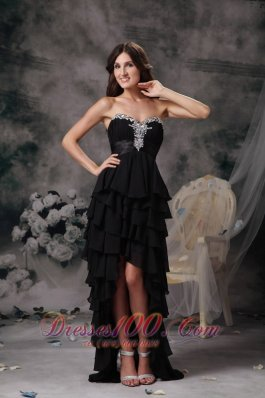 Little Black Dress For Prom Hi-lo Chiffon Tiered