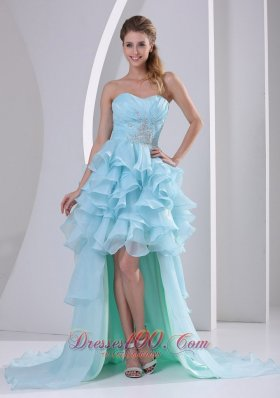 High-low Homecoming Dress For Prom Beading Ruffles