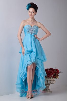 Baby Blue Tiered Prom Homecoming Dress High-low