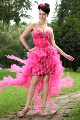 Hot Pink High Low Beading Homecoming Dress Ruffles