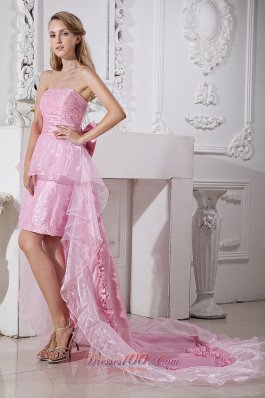 High-low Beading Homecoming Holiday Dress For Prom Organza