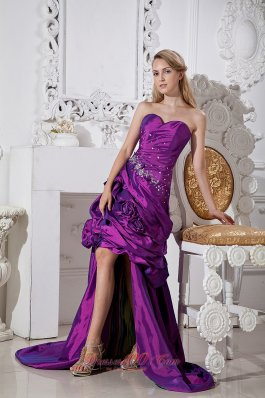 Purple Hand Made and Beading Prom Dress High-lo