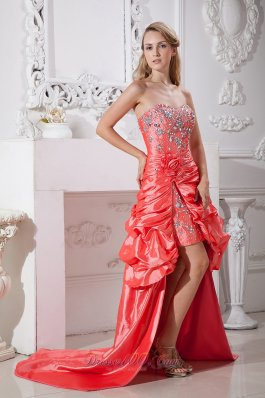 Watermelon Hi-low Flowers Beading Dress For Prom