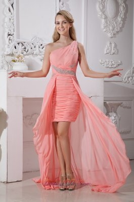 Watermelon Dress For Prom Hi-low One Shoulder