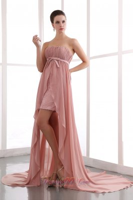 Peach Column Prom Dress Court Chiffon Beading
