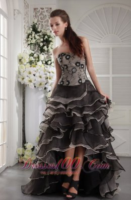 Brown and Black High-low Prom Dress Organza Layers