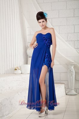 Peacock Blue Dress Prom Ankle-length Flowers