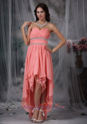 Watermelon handkerchief Prom Dress High-lo Beading