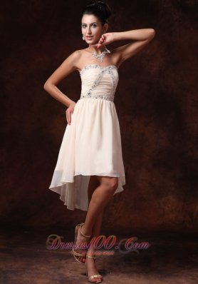 Asymmetrical Prom Gowns Champagne Custom Made