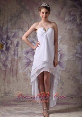 Simple White V-neck Hi-low Prom Dress Beading