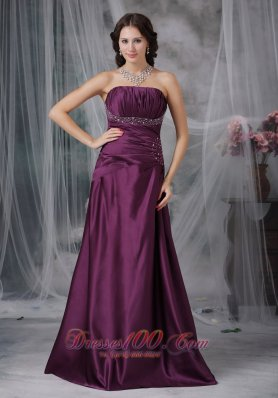 Plus Size Dark Purple Prom Dress Beading