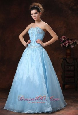 Baby Blue beading strapless long prom quinceanera dress