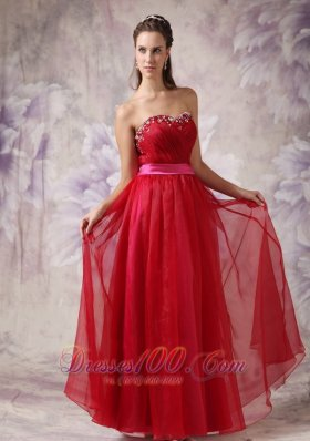 Customize Red Sweetheart Prom Dress Fuchsia Sash