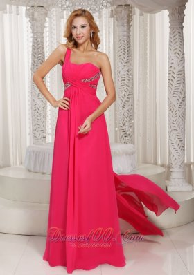 One Shoulder Customize Prom Dress Beading Watteau