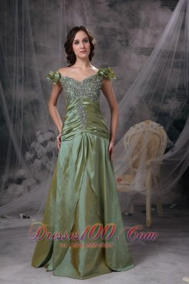 Luxurious Olive Green Prom Dress Off The Shoulder