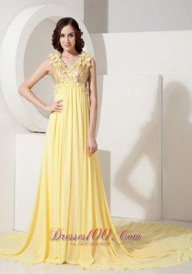 Yellow evening dress plus
