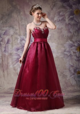 Burgundy Prom Dress Beading Plus Size Sash
