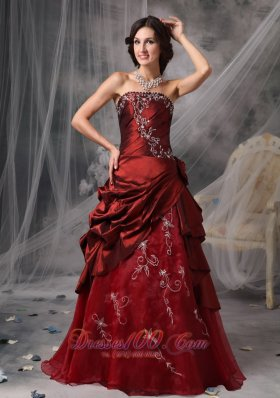 A-Line Burgundy Quinceanera Dress Appliques