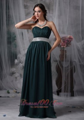 Dark Green Prom Evening Dress Belt Brush Sash