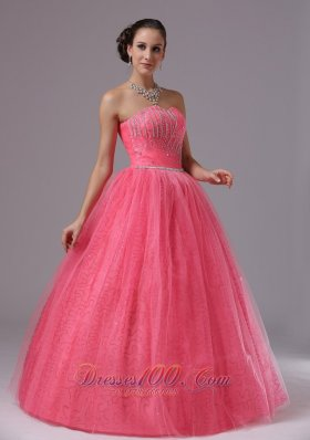 Coral Red Beaded For 2013 Quinces Gown