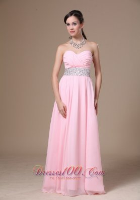 Beaded Chiffon Pink Empire Prom Graduation Dress 2013