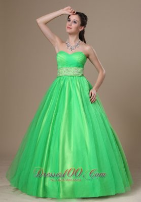 Spring Green Sweetheart Evening Dress Beading Sash