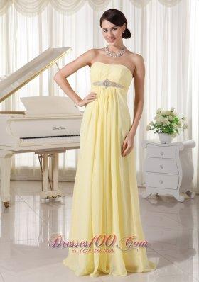 Prom Evening Dress Light Yellow Chiffon Empire