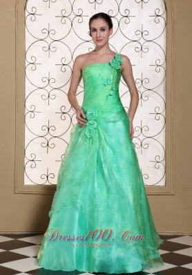 One shoulder Hand Flower 2013 Prom gown Turquoise
