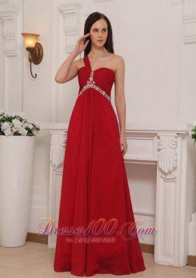 Beaded Chiffon Prom Dress One Shoulder 2013