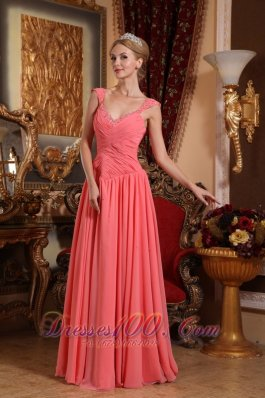 Straps Pleated Watermelon Prom Gown with Beads