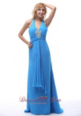 Ribbon Halter Blue Prom Dresses Beading Decorate