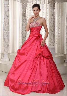 Handmade Flower Beading Evening Gown Coral Red
