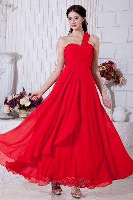 Ankle Length Layered Red One Shoulder Prom Gown
