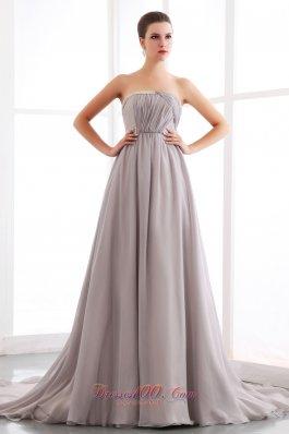 Court Train Gray Chiffon Prom Dress With Pleats