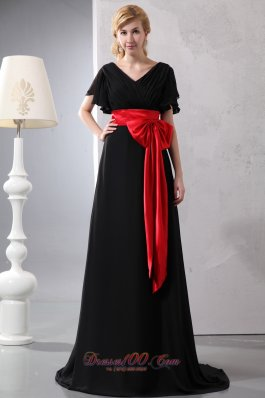Black and Red Bowknot Butterfly Sleeves Prom Dress