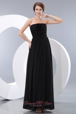 Button Back Hand Flower Black Bridesmaid Dress