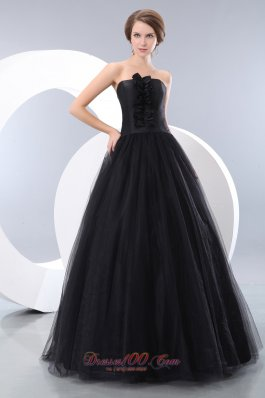 A-line Black Prom Evening Dress Tulle Corset Design